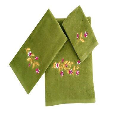 Beatriz Tulip 3 Piece 100% Cotton Towel Set Color: Green/Yellow/Pink