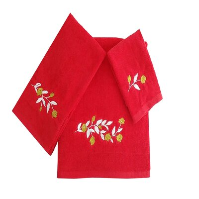 Beatriz Tulip 3 Piece 100% Cotton Towel Set Color: Red/White/Green