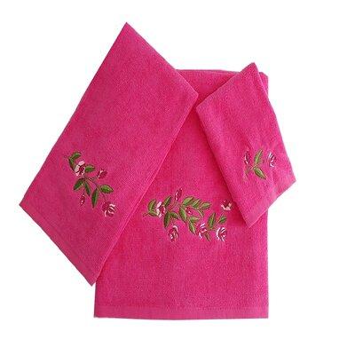 Beatriz Tulip 3 Piece 100% Cotton Towel Set Color: Hot Pink/White/Green