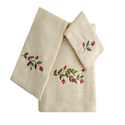 Beatriz Tulip 3 Piece 100% Cotton Towel Set Color: Beige/Green/Pink