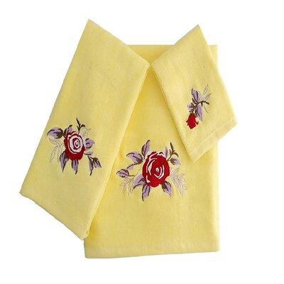 Ryann Roses 3 Piece 100% Cotton Towel Set Color: Yellow/Red/Purple