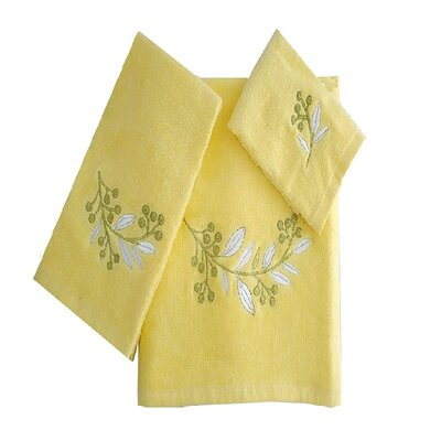 Robyn Leafs Brunch 3 Piece 100% Cotton Towel Set Color: Yellow/White/Green