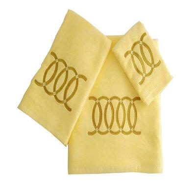Wealdstone Circle 3 Piece 100% Cotton Towel Set Color: Yellow/Tan