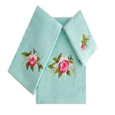Ryann Roses 3 Piece 100% Cotton Towel Set Color: Aqua/Pink/Green