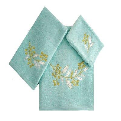 Robyn Leafs Brunch 3 Piece 100% Cotton Towel Set Color: Aqua/White/Green
