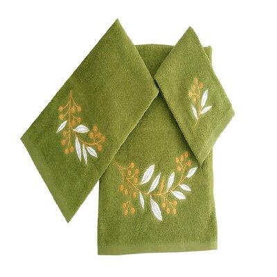 Robyn Leafs Brunch 3 Piece 100% Cotton Towel Set Color: Green/White/Tan