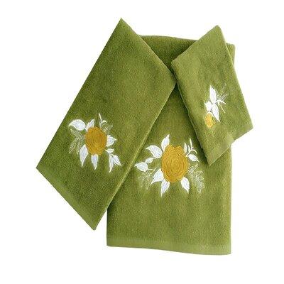 Ryann Roses 3 Piece 100% Cotton Towel Set Color: Green/Tan/White