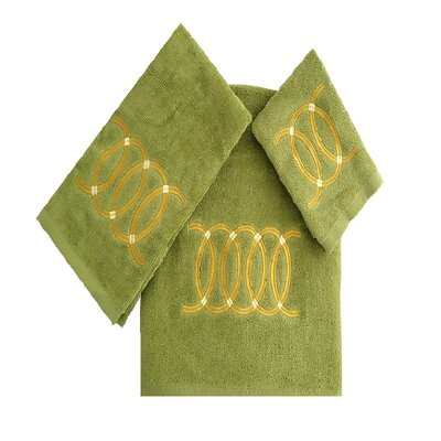 Wealdstone Circle 3 Piece 100% Cotton Towel Set Color: Green/Tan
