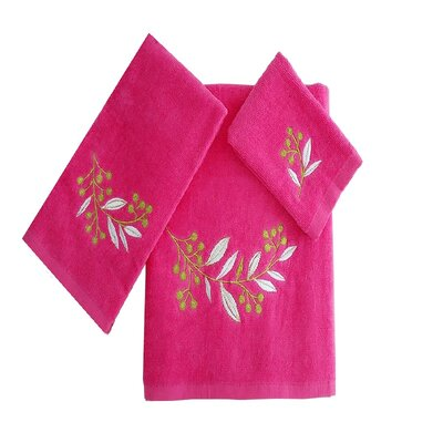 Robyn Leafs Brunch 3 Piece 100% Cotton Towel Set Color: Hot Pink/White/Green