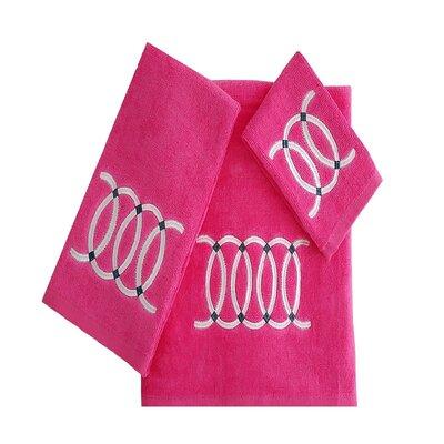 Wealdstone Circle 3 Piece 100% Cotton Towel Set Color: Hot Pink/White
