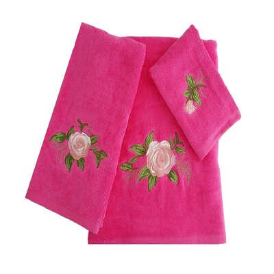 Ryann Roses 3 Piece 100% Cotton Towel Set Color: Hot Pink/Pink/Green