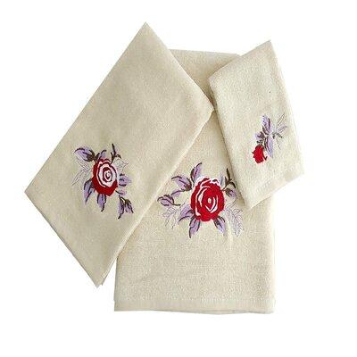 Ryann Roses 3 Piece 100% Cotton Towel Set Color: Beige/Purple/Red