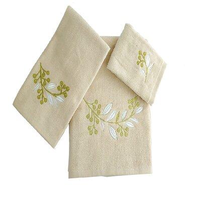 Robyn Leafs Brunch 3 Piece 100% Cotton Towel Set Color: Beige/White/Green