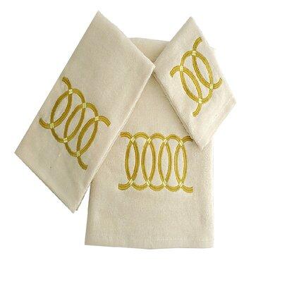 Wealdstone Circle 3 Piece 100% Cotton Towel Set Color: Beige/Yellow