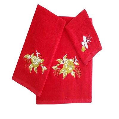 Ryann Roses 3 Piece 100% Cotton Towel Set Color: Red/Tan/White
