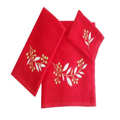 Robyn Leafs Brunch 3 Piece 100% Cotton Towel Set Color: Red/White/Green