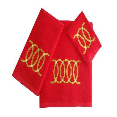 Wealdstone Circle 3 Piece 100% Cotton Towel Set Color: Red/Yellow