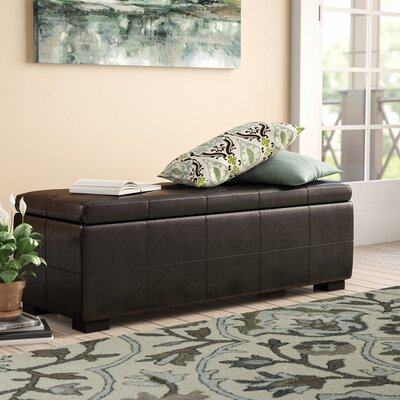 Catherine Faux Leather Storage Bench Color: Brown
