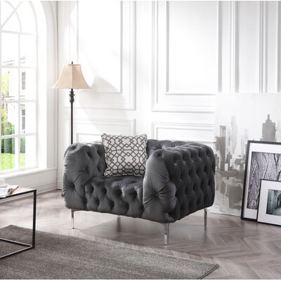 Verena Chesterfield Chair Upholstery: Gray