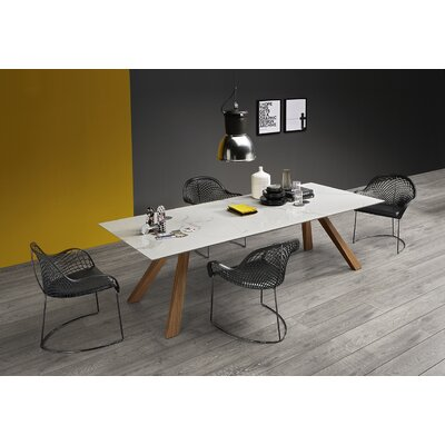 "Zeus LG Dining Table with Ceramic Top Size: 29.9"" H x 78.7"" W x 39.4"" D, Color: Oxide White Ceramic"