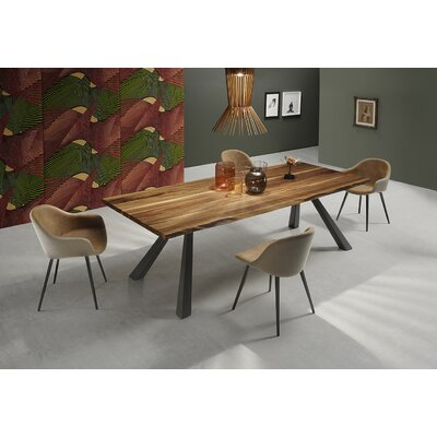 Zeus MT Dining Table with Wood Top Color: Veneered Flamed Walnut