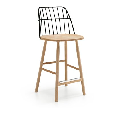 "Strike 26"" Bar Stool Leg Color: Black Lacquered Ash, Seat Color: Light Blue Steel"
