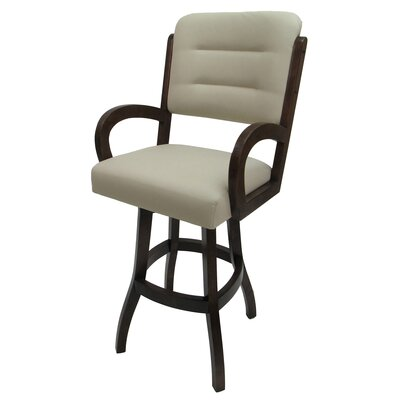 "Kallie 30"" Swivel Bar Stool Frame Color: Dark Walnut"