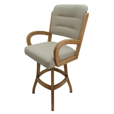 "Kenia 26"" Swivel Bar Stool Frame Color: Light Oak"
