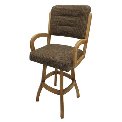 "Graciela 30"" Swivel Bar Stool Upholstery: Checkered, Frame Color: Light Oak"