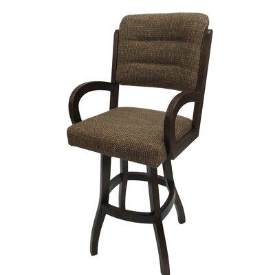 "Graciela 30"" Swivel Bar Stool Upholstery: Checkered, Frame Color: Dark Walnut"
