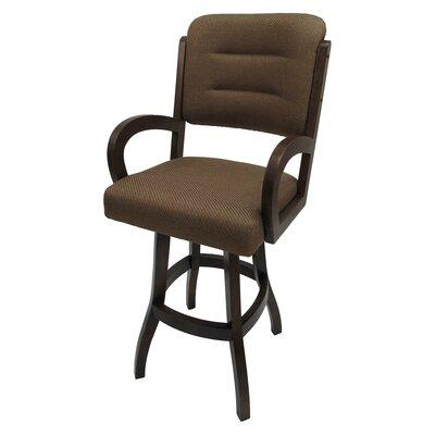 "Christiana 26"" Swivel Bar Stool Frame Color: Dark Walnut, Upholstery: Negev Brown"