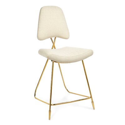Maxime Counter Stool Color: Gold, Upholstery: White