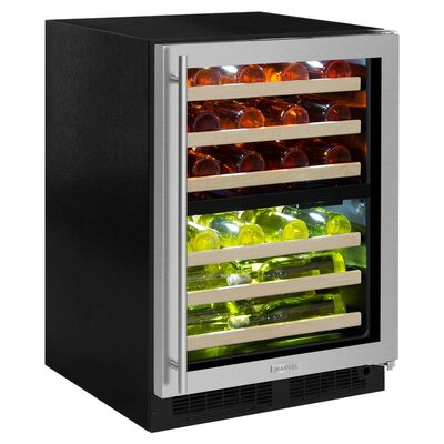 40 Bottle High-Efficiency Dual Zone Built-In Wine Cooler Finish: Black, Hinge Location: Right