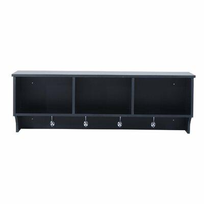 Ennis Floating Combination Storage Shelf Wall Mounted Coat Rack Color: Black