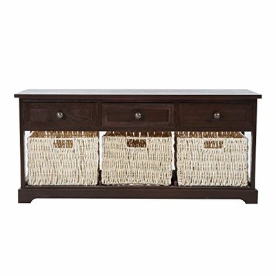 Coen 3 Drawer 3 Basket Wood Storage Bench Color: Brown