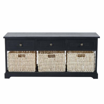 Coen 3 Drawer 3 Basket Wood Storage Bench Color: Black
