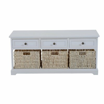 Coen 3 Drawer 3 Basket Wood Storage Bench Color: White