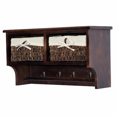 Timothy Floating Storage Shelf Wall Mounted Coat Rack Color: Brown