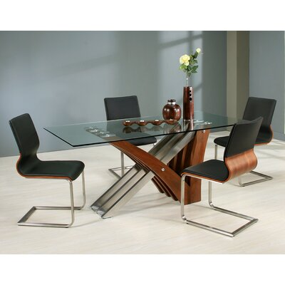 Vercher 5 Piece Dining Set Chair Color: Black, Table Base Color: Walnut