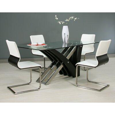Vercher 5 Piece Dining Set Chair Color: Ivory, Table Base Color: Wenge
