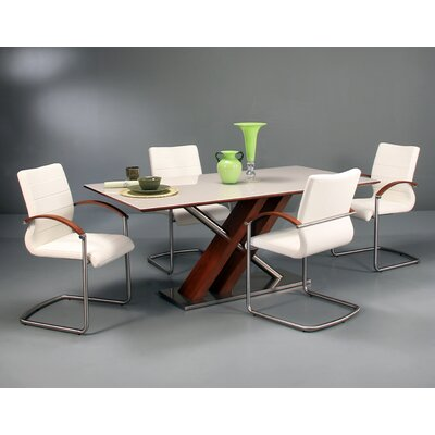 Verner 5 Piece Dining Set Table Base Color: Walnut