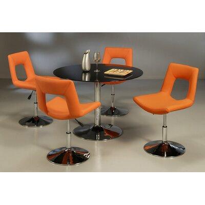 Vezina 5 Piece Dining Set Table Top Color: Black, Chair Color: Orange