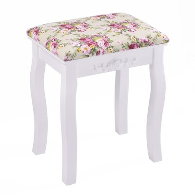 Nyla Vanity Stool Frame Color: White