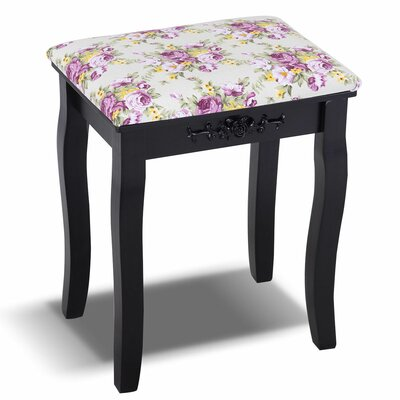 Nyla Vanity Stool Frame Color: Black
