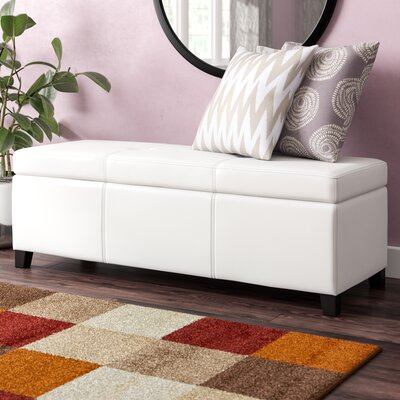 Eagarville Fabric Storage Bench Color: White