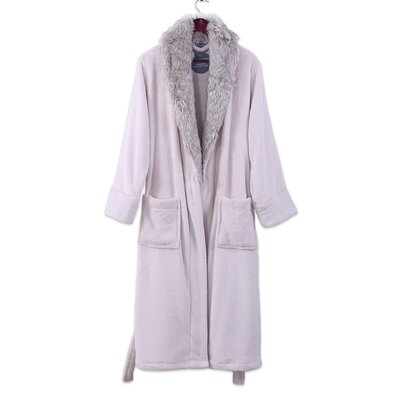 Luxury Fur Collar Bathrobe Size: Large
