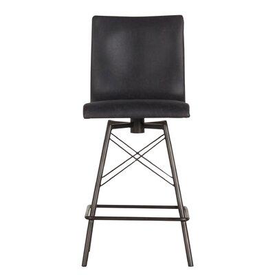 "Elisabeth 26"" SwivelBar Stool Upholstery: Black"