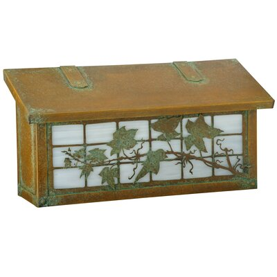 Ivy on Grid Wall Mounted Mailbox Post Color: Champagne, Mailbox Color: Old Penny