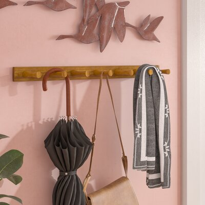 Buchanan 7 Peg Wall Mounted Coat Rack Color: Bamboo