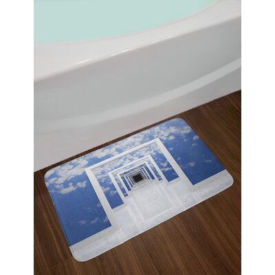 Blue White Futuristic Bath Rug